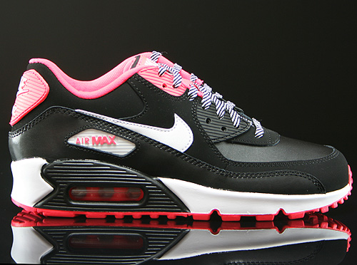 Nike Air Max 90 2007 GS Black White Hyper Punch Sneakers 345017-064