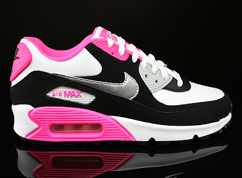 Nike Air Max 90 2007 GS White Metallic Silver Black Hyper Pink Sneakers 345017-122