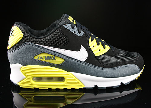 Nike Air Max 90 Essential Black White Yellow Armory Slate Sneakers 537384-017