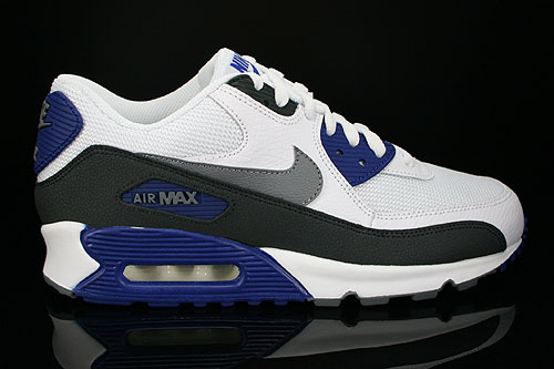 Nike Air Max 90 Essential White Cool Grey Deep Royal Black Sneakers 537384-104