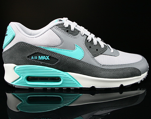 Nike Air Max 90 Essential Wolf Grey Hyper Jade Cool Grey Sneakers 537384-033