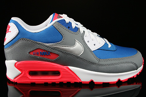 Nike Air Max 90 GS Military Blue Metallic Silver White Laser Sneakers 307793-407
