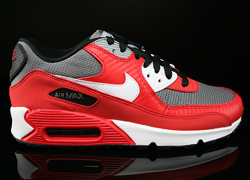 Nike Air Max 90 GS University Red White Metallic Cool Grey Black Sneakers 307793-602