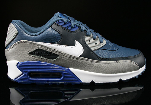 Nike Air Max 90 Leather New Slate White Medium Grey Gym Blue Sneakers 652980-401