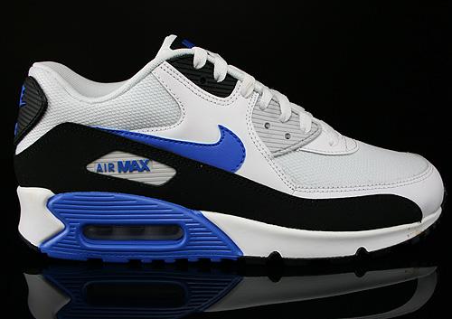Nike Air Max 90 Essential White Hyper Cobalt Black Sneakers 537384-115