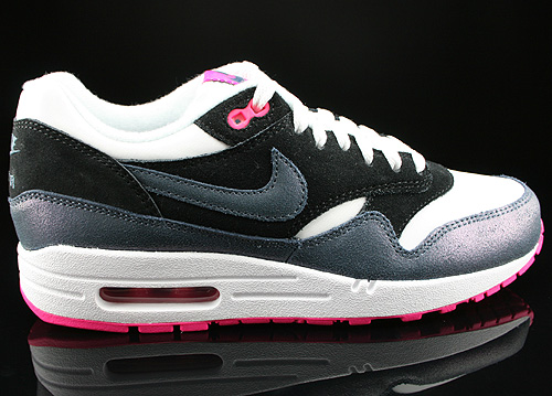 Nike WMNS Air Max 1 Essential White Dark Armory Blue Pink Foil Black Sneakers 599820-102