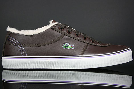 Lacoste Sahira Low Fur SPW LTH Dark Brown Off White Right