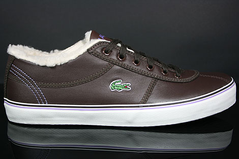 Lacoste Sahira Low Fur SPW LTH Dark Brown Off White Profile