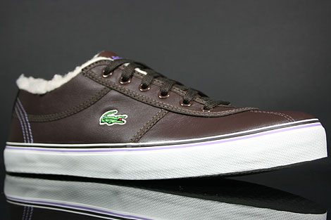 Lacoste Sahira Low Fur SPW LTH Dark Brown Off White Sidedetails