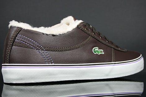 Lacoste Sahira Low Fur SPW LTH Dark Brown Off White Over view