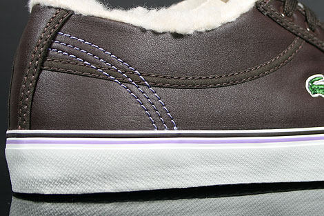Lacoste Sahira Low Fur SPW LTH Dark Brown Off White Outsole