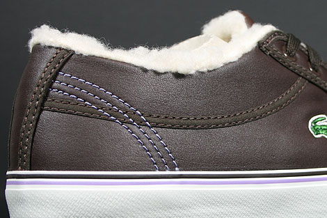 Lacoste Sahira Low Fur SPW LTH Dark Brown Off White Shoebox