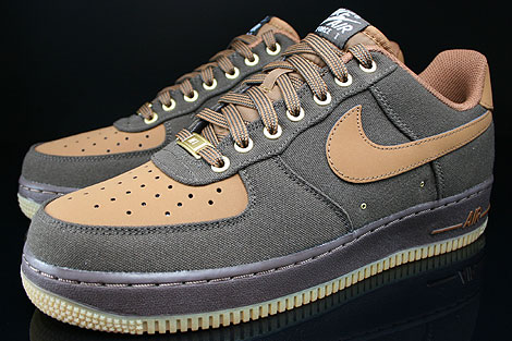 Nike Air Force 1 Low Dunkelbraun Braun Beige Seitendetail