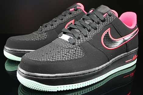 Nike Air Force 1 Low Black Laser Crimson Arctic Green Sidedetails