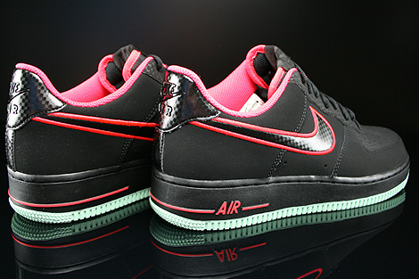 Nike Air Force 1 Low Black Laser Crimson Arctic Green Back view