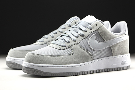 Nike Air Force 1 Low Hellgrau Beige Weiss Seitendetail