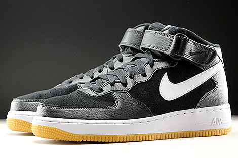 Nike Air Force 1 Mediados Negro Goma Blanca EqS7z