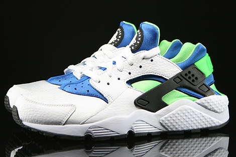 Nike Air Huarache White Scream Green Royal Blue Black Profile