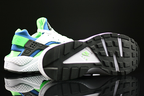 Nike Air Huarache White Scream Green Royal Blue Black Outsole