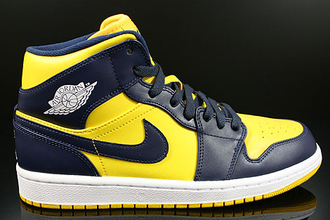 Nike Air Jordan 1 Mid Varsity Maize Midnight Navy White