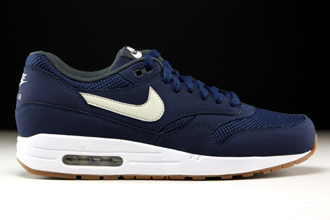 0697cc99eb Nike Air Max 1 Essential Midnight Navy Light Bone White 537383-401 ...