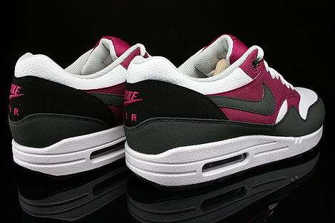 Nike Air Max 1 Essential White Dark Base Grey Bright Magenta Black Back view
