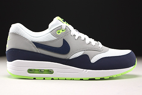 5622a401a5 ... Nike Air Max 1 Essential White Midnight Navy Flat Silver Ghost Green  Right ...