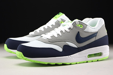 Nike Air Max 1 Essential White Midnight Navy Flat Silver Ghost Green Sidedetails