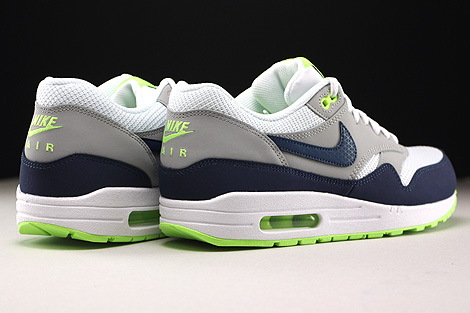 Nike Air Max 1 Essential White Midnight Navy Flat Silver Ghost Green Back view