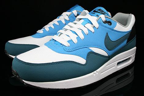 Nike Air Max 1 Essential Weiss Petrol Blau Grau Schwarz Seitendetail