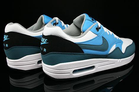 Nike Air Max 1 Essential Weiss Petrol Blau Grau Schwarz Rueckansicht
