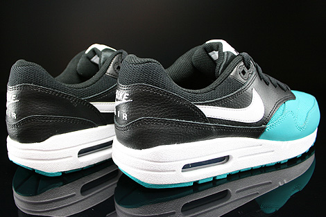 Nike Air Max 1 GS Black White Turbo Green Black Back view