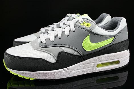 Nike Air Max 1 GS Grau Neongelb Hellgrau Anthrazit Seitenansicht