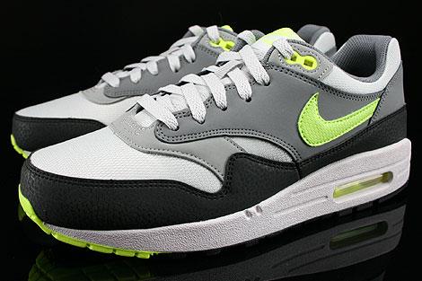 Nike Air Max 1 GS Grau Neongelb Hellgrau Anthrazit Seitendetail