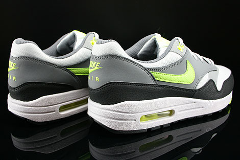 Nike Air Max 1 GS Grau Neongelb Hellgrau Anthrazit Rueckansicht