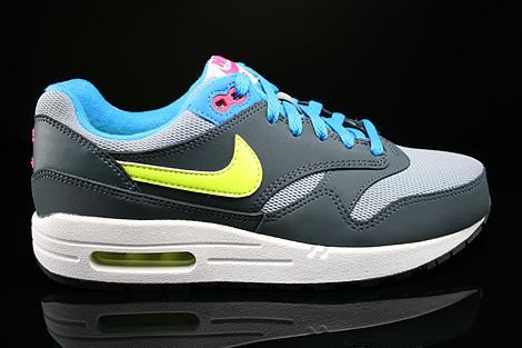 Nike Air Max 1 GS Grau Gelb Blau Pink Dunkelgrau