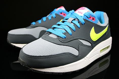 Nike Air Max 1 GS Grau Gelb Blau Pink Dunkelgrau Seitendetail