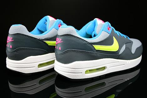 Nike Air Max 1 GS Grau Gelb Blau Pink Dunkelgrau Rueckansicht