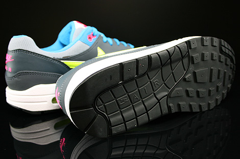 Nike Air Max 1 GS Grau Gelb Blau Pink Dunkelgrau Laufsohle