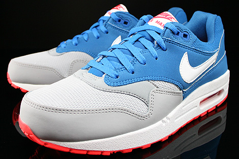 Nike Air Max 1 GS Military Blue White Laser Crimson Wolf Grey Sidedetails