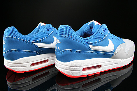 Nike Air Max 1 GS Military Blue White Laser Crimson Wolf Grey Back view