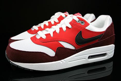 Nike Air Max 1 GS Weiss Schwarz Rot Dunkelrot Seitenansicht