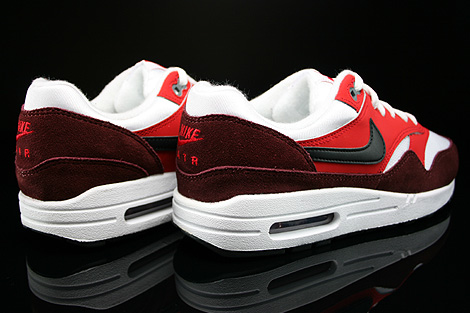 Nike Air Max 1 GS White Black University Red Dark Team Red Back view