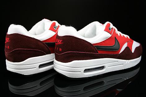 Nike Air Max 1 GS Weiss Schwarz Rot Dunkelrot Rueckansicht