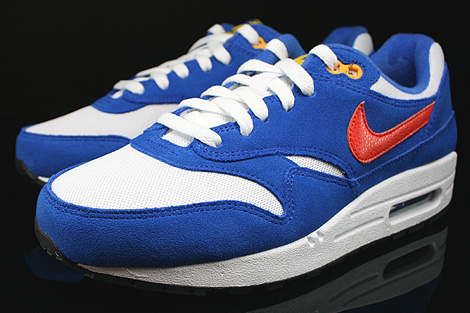 Nike Air Max 1 GS White Team Orange Hyper Cobalt Black Sidedetails