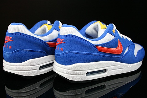 Nike Air Max 1 GS White Team Orange Hyper Cobalt Black Back view