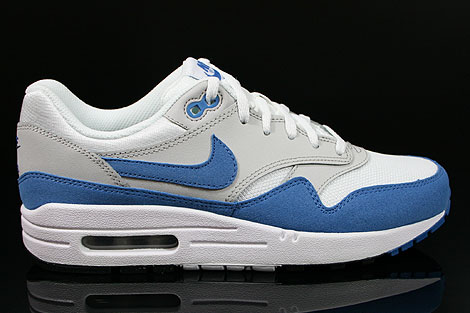 dd406293da8656 Nike Air Max 1 GS White Varsity Blue Neutral Grey Black 555766-100 ...