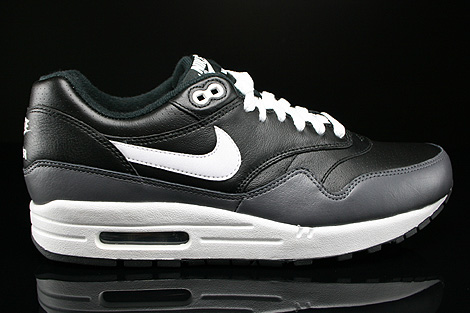 Nike Air Max 1 Leather Black White Dark Grey Right