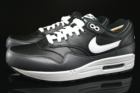 Nike Air Max 1 Leather Black White Dark Grey Profile