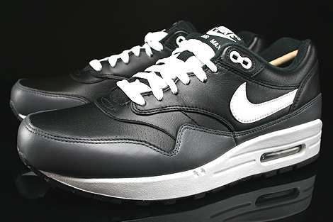 Nike Air Max 1 Leather Black White Dark Grey Sidedetails